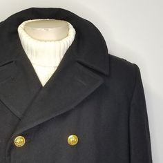1bd00e5bec7 new DSCP STERLINGWEAR Black US Navy Wool Pea Coat Brass Eagle Buttons Mens  46R  DSCP
