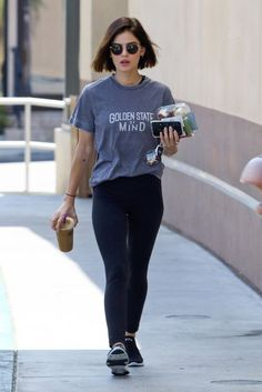 Lucy Hale wearing Apl Athletic Propulsion Techloom Bliss Sneakers and Golden State of Mind Bobbie Tee Gigi Hadid Maybelline Commercial, Summer Outfits, Casual Outfits, Fashion Outfits, Suzy Bae Fashion, Dakota Johnson Style, Cheryl Cole, Leather Trench Coat, Lucy Hale