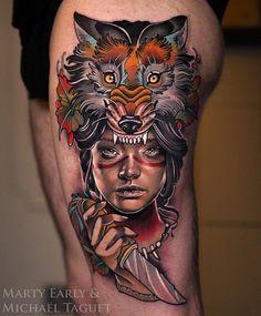 Neo Traditional Tattoo Artwork Collaboration by: Artist IG: Artists IG: Traditional Tattoo Artwork, Unique Tattoos, Cool Tattoos, Tatuajes New School, Neo Tradicional Tattoo, Neo Tattoo, Tableaux Vivants, Tattoo Designs, Intricate Tattoo