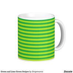 Green and Lime Green Stripes Coffee Mug