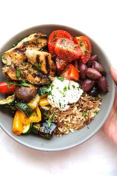 Greek Chicken Souvlaki Bowls with Roasted Veggies and Tzatziki Sauce