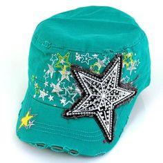 Blue crystal star cadet hat cap women distressed western vintage teal bling