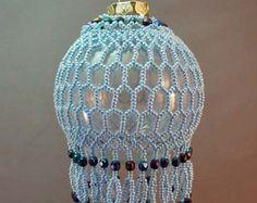 Cream & Brown Honeycomb Beaded Ornament Kit by TheOrnamentalLady