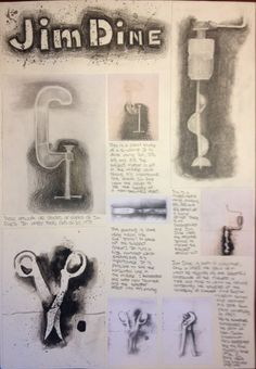 Art Sketchbook Ideas: Creative Examples to Inspire High School Students IGCSE Art Coursework - study of jim dine Gcse Art Sketchbook, Sketchbook Ideas, Sketchbooks, Trippy, Artist Research Page, Ap Drawing, Object Drawing, Sketchbook Assignments, Jim Dine