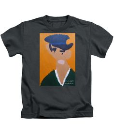 Patrick Francis Designer Kids Charcoal T-Shirt featuring the painting Young Man With A Hat - After Vincent Van Gogh by Patrick Francis