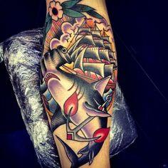 Ship - Shark - tattoo