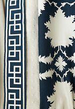 Schumacher Mary McDonald Honeycomb. Mary McDonald Octavius Tape in Bleu Marine, Honeycomb in Swan and Garden of Persia in Bleu Marine.