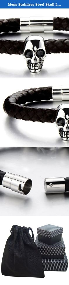 """Mens Stainless Steel Skull Leather Bracelet Genuine Leather Wristband Bangle. *Condition:100% brand new *Code:MB-530 *Metal:Stainless Steel *Material:Black genuine leather *Finishing:Polished *Dimension:23.3MM(0.90"""")wide x21CM(8.19"""")long x14.7MM(0.57"""")thick; *Weight:25.6g *Package: Jewelry Box with Brand Name COOLSTEELANDBEYOND ."""