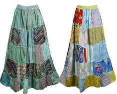 891058d45f Mogul Interior 2pc Women's Maxi Skirt Patchwork Flare Gypsychic Printed  Bohemian Long Skirts S/M Blue,Green: Amazon.co.uk: Clothing