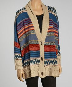 Take a look at this Blue Alpine Stripe Wool-Blend Cardigan by Caibae on #zulily today!