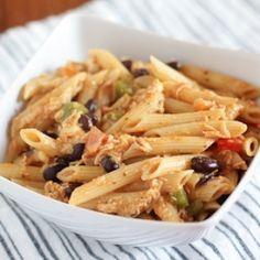 One Pot Cheesy Salsa & Chicken Pasta. Spicy, cheesy, good.