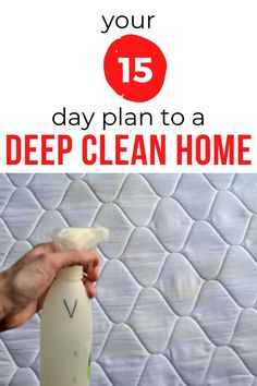 Make your life easy with this 15 day plan to clean your home. Cleaning hacks for your bathroom, kitchen, shower, toilet, blinds windows with these cleaning tips and tricks. #hometalk #cleaninghacks #cleaningschedule