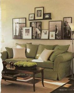 Display photos in relaxed framed layers with varying sizes. Ledges make it no wall hole commitments and frames make it easy to change out prints