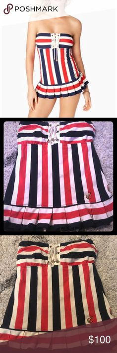 Juicy Couture Nautical Swimdress Super cute nautical Juicy swim dress! Perfect for pool, beach or boat! It's red, white and a dark navy striped, Worn a couple of times but still in great condition! Open to negotiating the price. Thanks! Juicy Couture Swim One Pieces
