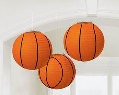 Paper Lantern Basketball, 9.5?? | 3 ct These are so cute! Ideal lighting for a basketball or sports themed bar mitzvah or birthday party (Basketball Party)