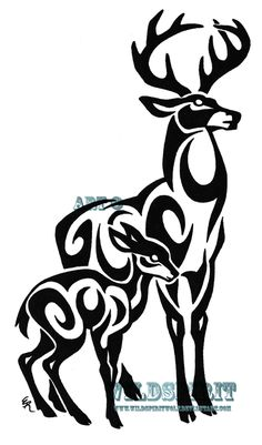 Google Image Result for http://fc00.deviantart.net/fs46/i/2009/167/1/2/Tribal_Stag_And_Fawn_Tattoo_by_WildSpiritWolf.png