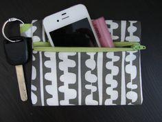 Lotta Jansdotter Grey & White Keychain Wallet by stitch248 on Etsy, $12.00
