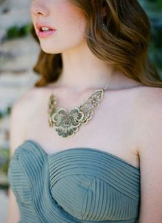 Dusty Teal and Antique Gold Bridesmaids Style | This Modern Romance | See More! http://heyweddinglady.com/bridal-styling-secrets-from-my-favorite-fashion-blogs/
