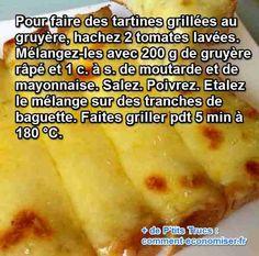 Du pain grillé, un peu de fromage et quelques tomates suffiront à agrémenter un délicieux repas en quelques minutes. Cette recette, je la prépare le plus souvent avec des restes et mon porte-monnaie s'en réjouit !  Découvrez l'astuce ici : http://www.comment-economiser.fr/baguette-grillees-gruyere.html?utm_content=buffer51f54&utm_medium=social&utm_source=pinterest.com&utm_campaign=buffer