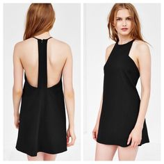 Urban Outfitters Marci Carve Neck Ponte Mini Dress Urban Outfitters Marci Carve Neck Ponte Mini Dress Little black high-neck mini dress from edgy-modern brand Silence + Noise. Soft + stretchy ponte is cut short + relaxed featuring cut-in armholes and a high neckline.  Content + Care - Polyester, spandex - Machine wash - Imported Urban Outfitters Dresses Mini