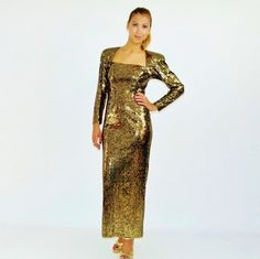 Vintage Gown, 80s Prom Gown, Gold Formal Gown. Gold Sequin Long Dress, Size Medium