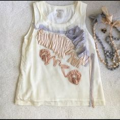 J. Crew Coral reef tank Sea Urchin top in cream, light peach, and light grey .Made of 57% cotton, 43% silk, Fully lined in 100% cotton. Great condition. (Necklaces, ring, and sweater sold separately.) 🚫no trades J. Crew Tops