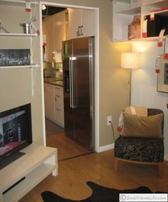 Corner TV is a good idea for minimising the space impact of a TV (IKEA  small space design)