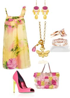 """Pink & Yellow"" by anesbitt09 ❤ liked on Polyvore"