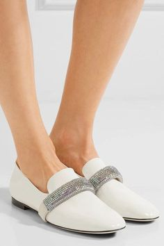 Heel measures approximately 25mm/ 1 inch White patent-leather, off-white suede Slip on Made in Italy