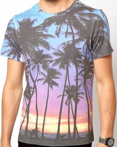 colourful sunset + palm trees [New Look T-Shirt with Sunset Print]