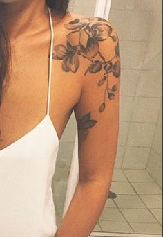 Placement and art shoulder sleeve tattoos, shoulder tattoos for women, flower shoulder tattoos, Shoulder Sleeve Tattoos, Back Of Shoulder Tattoo, Shoulder Tattoos For Women, Flower Tattoo Shoulder, Cherry Blossom Tattoo Shoulder, Feather Tattoos, Foot Tattoos, Body Art Tattoos, Small Tattoos