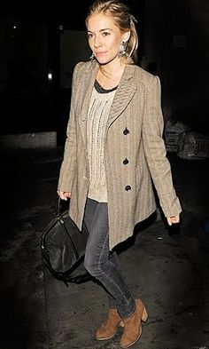 Sienna Miller . Street style.. gray and camel, slouchy blazer coat w/ big boho earring