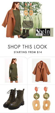 """Win Shein Olive Green Open Shoulder Sweatshirt Dress"" by baebaoni-bijoux on Polyvore featuring moda, MANGO e New York & Company"