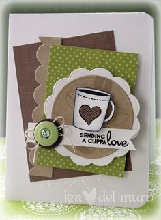 Brown  Green 'Cuppa Love' Card