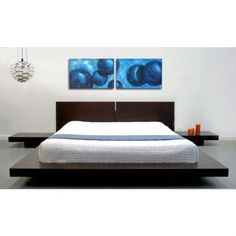 king modern japanese style platform bed with headboard and 2 nightstands in espresso - Modern King Bed Frame