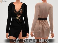 The Sims 4 Elliesimple - Gucci Sweater Dress Los Sims 4 Mods, Sims 4 Game Mods, Die Sims, Sims 4 Mm, Sims 4 Hair Male, Sims Hair, Sims 4 Traits, Sims 4 Teen, Sims 4 Cc Shoes
