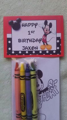 This listing is for 12 sets of Mickey Mouse favor bag with mini coloring pages with crayon party favors. Each set will include 4 assorted crayons, favor bag, 3 mini coloring pages that match the theme, and personalized label on cardstock. You may personalize with any message space