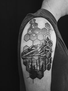 My first. Geometric pattern and landscape by Canyon Webb Reno Tattoo Company Reno NV Japanese tattoo sleeve