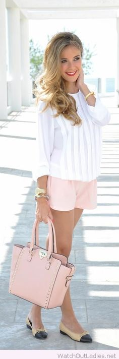 White top, pink shorts, lovely combo