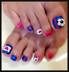 """world cup toenails- this is cool, but I would get soccer balls on both big toenails- and change the """"Japan"""" to USA!"""
