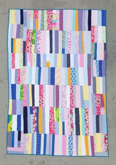 Twin size quilt: Currituck No. 3 quilt | upcycled clothes blue yellow pink purple modern improv strip modern quilt by mastgeneral on Etsy https://www.etsy.com/listing/193556292/twin-size-quilt-currituck-no-3-quilt