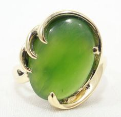 14k Solid Gold Ring Chrysophrase Gorgeous Green Stone Can Be Sized Free Ship (e)