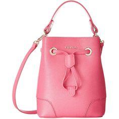 Furla Stacy Pinky Mini Drawstring Handbag ($359) ❤ liked on Polyvore featuring bags, handbags, shoulder bags, mini shoulder bag, leather man bag, leather handbags, shoulder handbags and hand bags