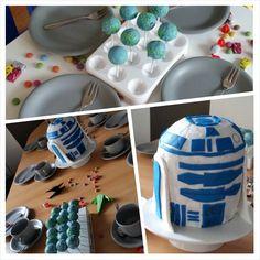 Süßes Büffet am Familiengeburtstag: Cake-Pop-Planeten, ein R2/D2 Kuchen (4 Kuchen übereinander in Form geschnitten, mit Fondant eingedeckt und verziert), Smarties und Lichtschwert-Mikados