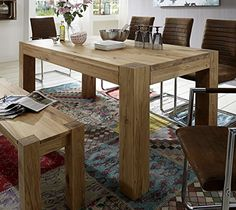 SAM® Massiver Esszimmer Tisch Rustiko II, 90 x 180 cm, aus geölter Wildeiche, Esszimmertisch mit natürlicher Maserung im modernen Design, exklusiver Holztisch für Ihre Wohnung