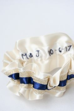Custom Gold Lace, Navy Blue and Ivory Hand Embroidered Wedding Garters :: The Garter Girl by Julianne Smith  #garter #weddinggarter #bridalgarter #gartergirl #tooprettytotoss #weddingheirloom #modernheirloom #thegartergirl #wedding #bridalstyle #bride #bridalfashion #bridegift #giftforbride #weddingmorning #weddingday #gartertoss #weddingtradition