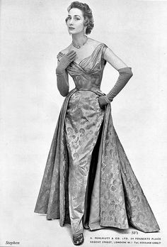 Sophisticatedly beautiful evening gown glamour from Perlmutt, 1954.