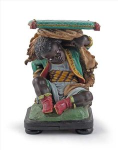 A Minton Majolica garden seat 2nd half 19th century, modelled as a seated blackamoor boy wearing a brocaded jacket and draped in a lion skin #majolica