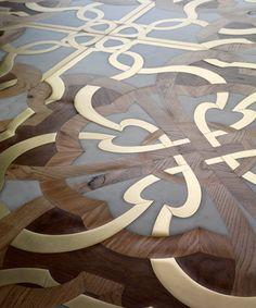 Solid parquet floor / glued / oak / walnut - CALIMALA by Gianluca Geraci - Parchettificio Toscano Srl Wood Floor Design, Tile Design, Parquet Flooring, Wooden Flooring, Motif Art Deco, Stenciled Floor, Floor Patterns, Marble Floor, Floor Decor
