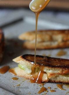 Brie and Apple Grilled Cheese with Salted Caramel Drizzle